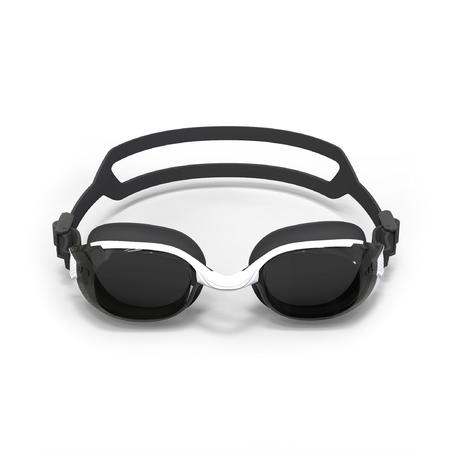 B-FIT 500 Swimming Goggles White Black Smoke Lenses
