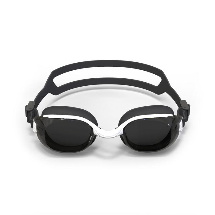 SWIMMING GOGGLES 500 B-FIT WHITE BLACK SMOKE LENSES 400° / -4
