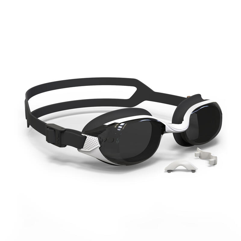 500 B-FIT Swimming Goggles - White Black, Smoke Lenses
