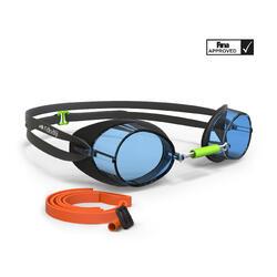 Lunettes de natation 900 Suédoises Noir Bleu verres clairs