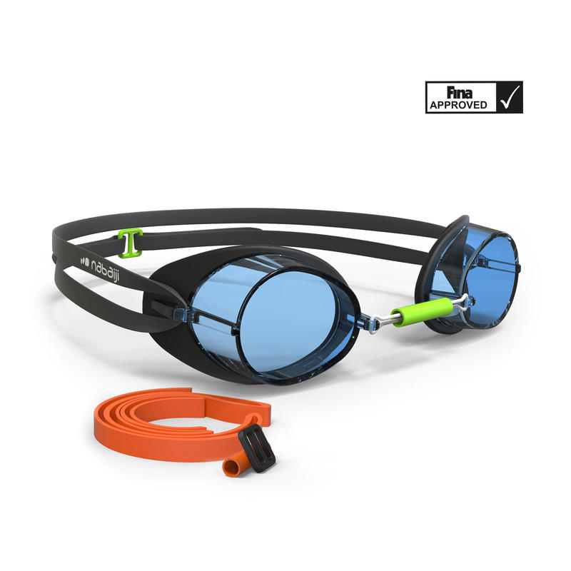 900 Swedish Swimming Goggles - Black Blue, Clear Lenses