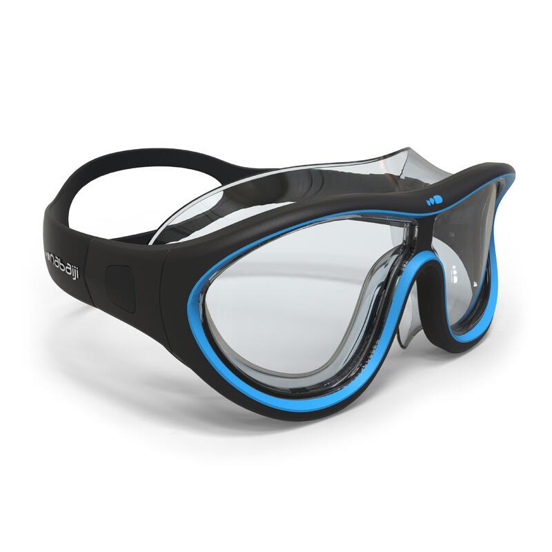Máscara Piscina Swimdow Negro Azul Cristales Claros Talla L