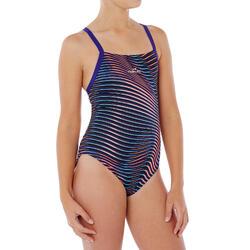 Maillot de bain de natation une pièce fille résistant au chlore Lidia Vib bleu