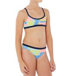 Maillot de natation fille deux pièces Riana Num bleu vert