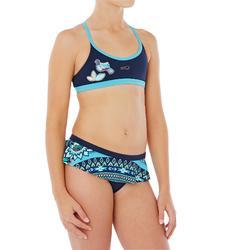 Maillot de natation fille deux pièces Riana Skirt Flo bleu