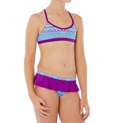 Bikini Deportivo Niña Piscina Natación Nabaiji Riana Skirt Violeta/Azul Turquesa