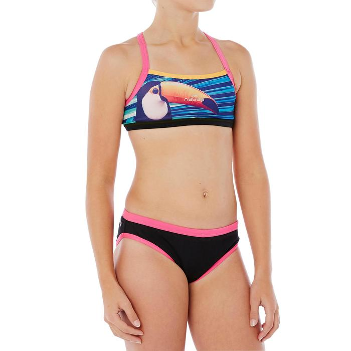 Bas de maillot de bain de natation fille résistant au chlore Jade noir rose - 1337811