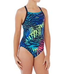 Bañador de natación una pieza para niña, resistente al cloro Jade jun Azul