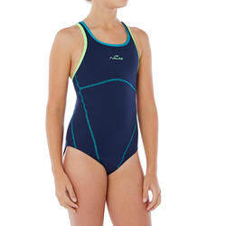Kamiye+ Girl's Chlorine-Resistant One-Piece Swimsuit - Blue