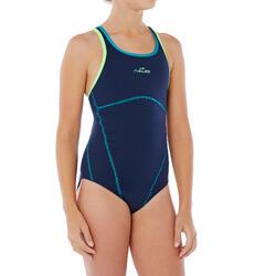 Bañador de natación una pieza para niña resistente al cloro Kamiye Azul Verde
