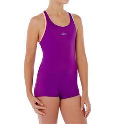 Bañador de natación una pieza niña Leony forma shorty violeta