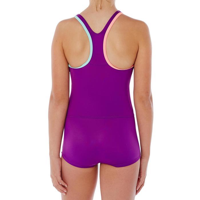Maillot de bain de natation fille une pièce Leony shorty marine - 1337834