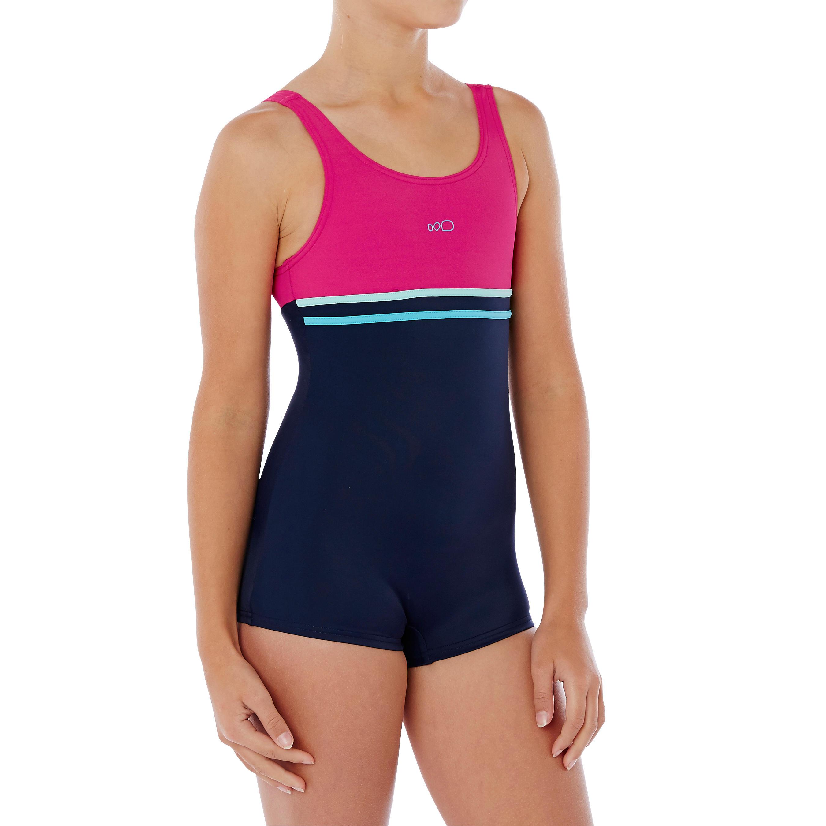 Bañador de natación para niña una pieza forma shorty Loran Azul y Rosa