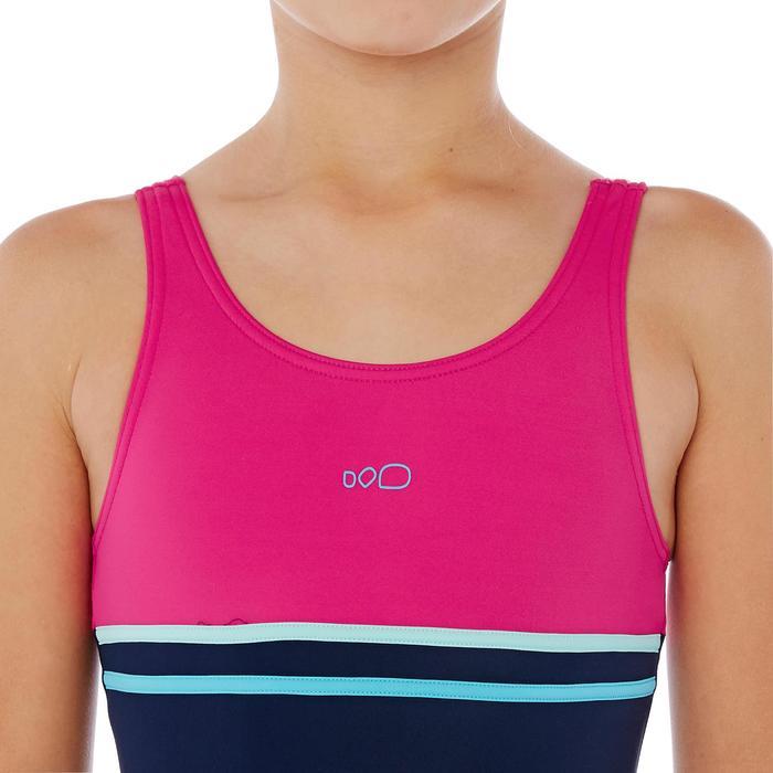 Meisjesbadpak met shortymodel Loran blauw/roze