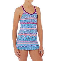 Riana Girls' One-Piece Dress Swimsuit - Plum Blue