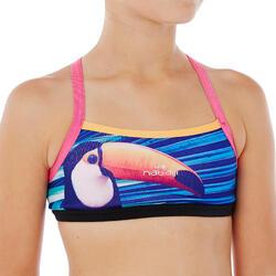 Sujetador-top de natación para niña ultra resistente al cloro Jade Toucan