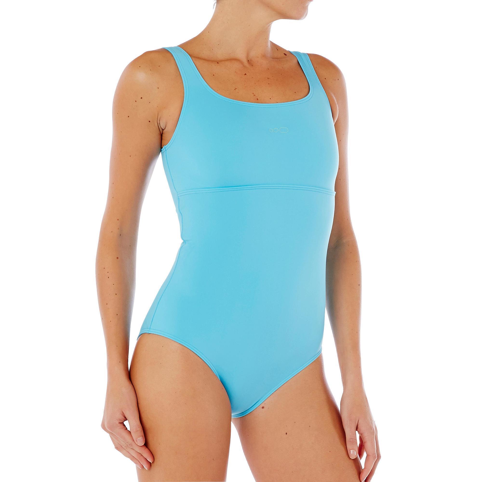 Maillot de bain de natation femme une pi ce heva bleu for Protege oreille piscine decathlon