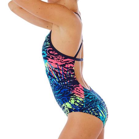 Traje de Baño Natación Alberca Nabaiji Jade Mujer Forma Espalda X Escotado Azul