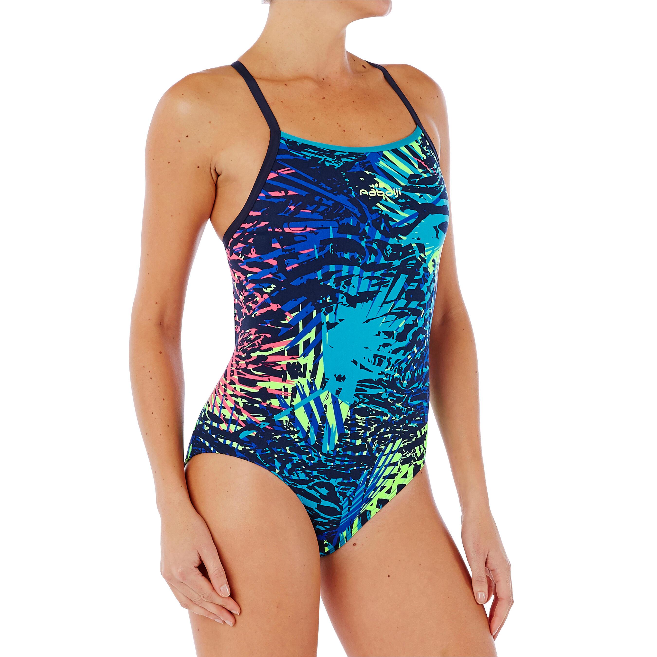 Maillot de bain de natation une pièce femme résistant au chlore Jade bleu