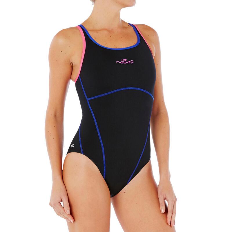 Traje de natación 1 pieza, resistente al cloro Kamiye Negro Rosa
