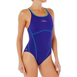 Maillot de bain de natation une pièce femme résistant chlore Kamiye bleu corail