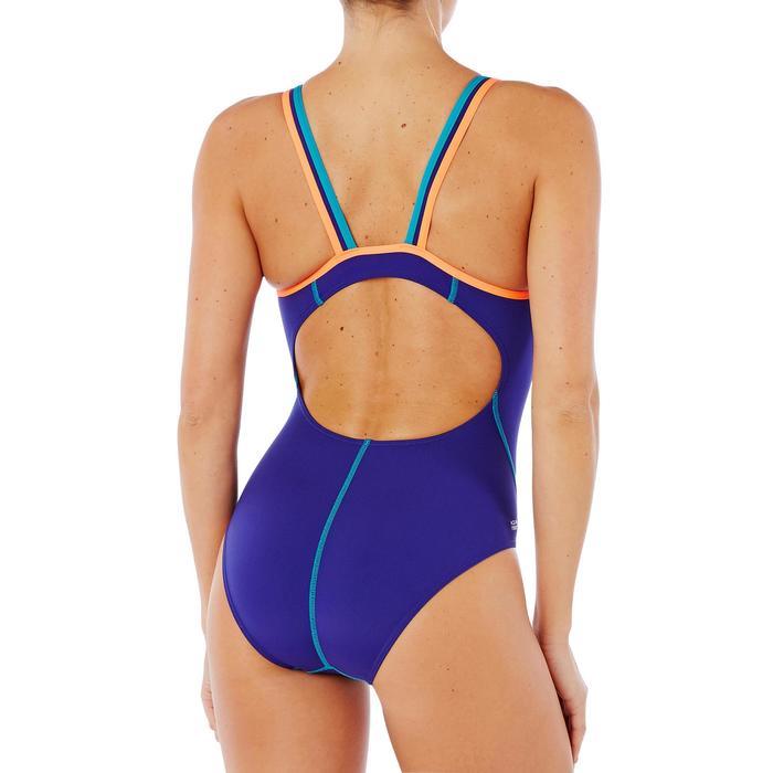 Bañador natación una pieza para mujer resistente al cloro Kamiye Azul Rojo coral