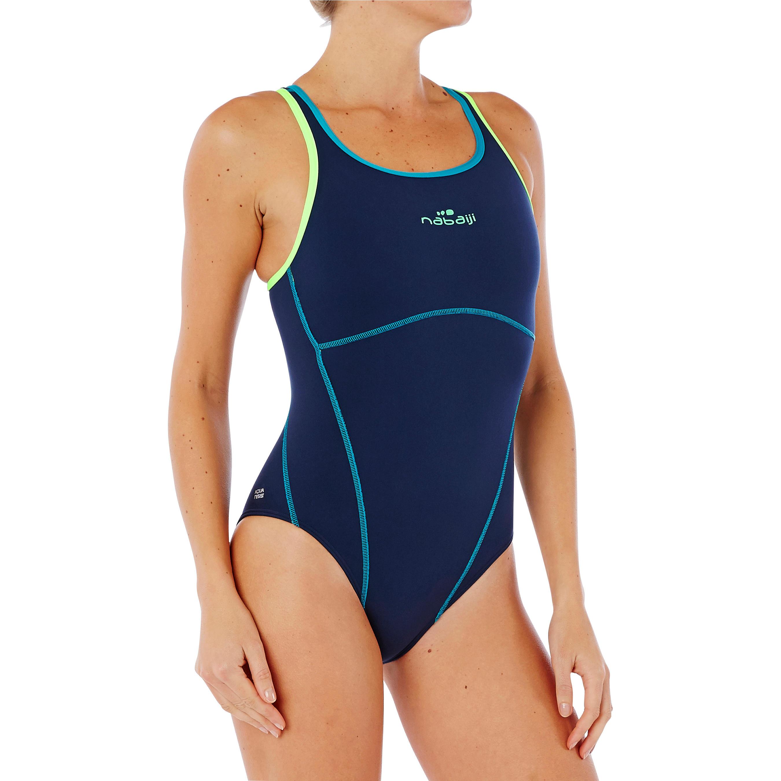 Kamiye Women's Chlorine-Resistant One-Piece Swimsuit - Navy Blue