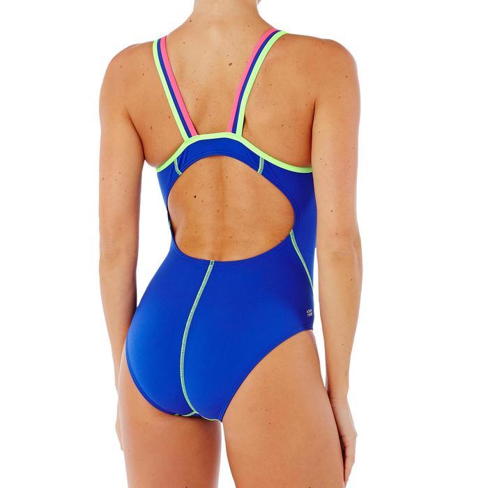 Bañador de natación una pieza mujer resistente al cloro Kamiye Azul Verde