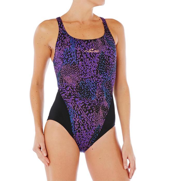 Bañador de natación una pieza mujer resistente al cloro Kamiye Léo violeta