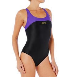Maillot de bain de natation une pièce femme résistant chlore Leony noir violet
