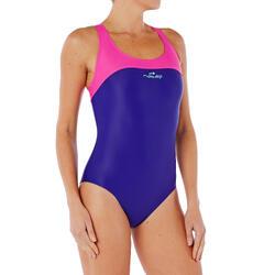 Maillot de bain de natation une pièce femme résistant chlore Leony bleu rose
