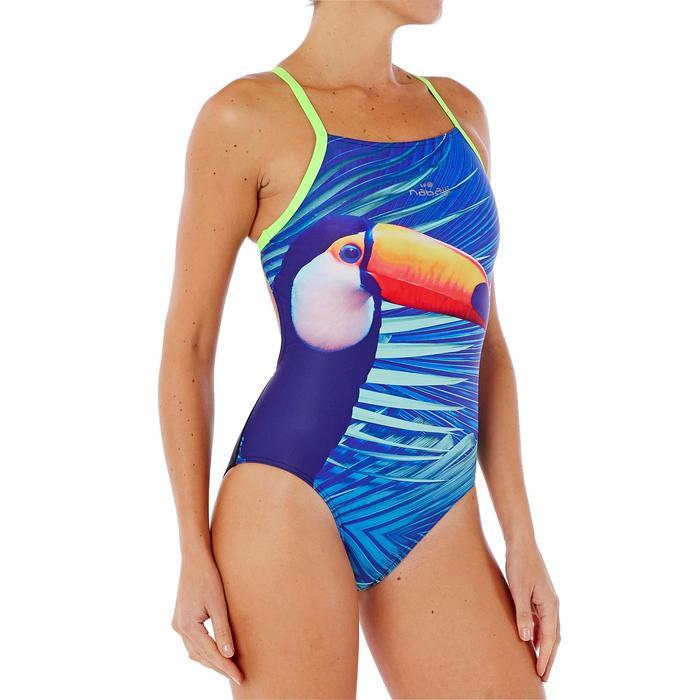 Maillot de bain de natation une pièce femme résistant au chlore Lidia bleu navy - 1338064