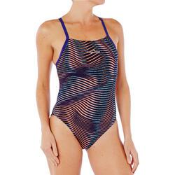 女款耐氯連身泳裝Lidia - 波紋圖案/藍色