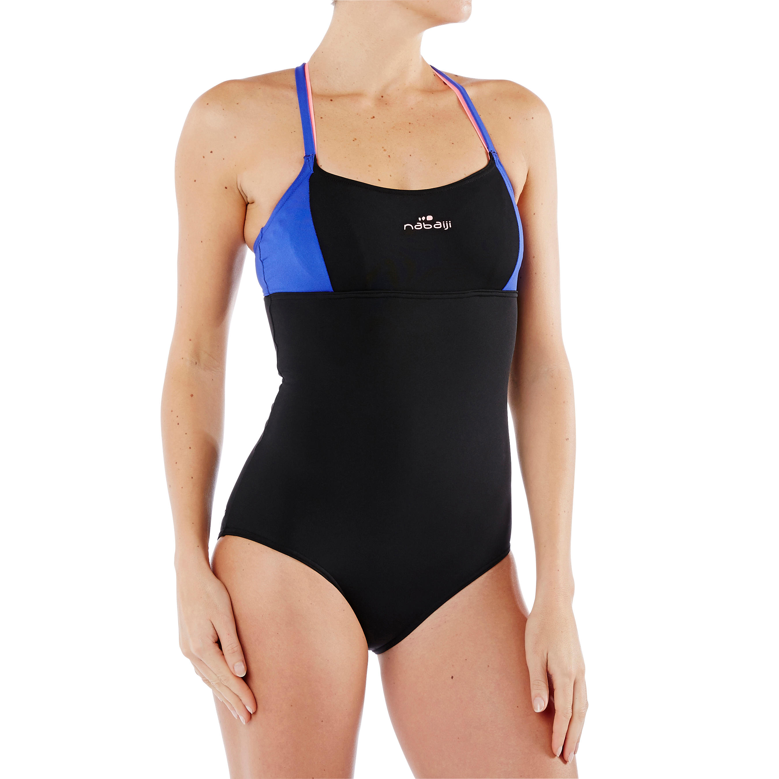 Meg ultra chlorine-resistant one-piece aquafitness pool swimsuit black blue