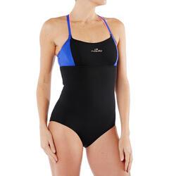Uiterst chloorbestendig badpak Meg voor aquafitness zwart/blauw