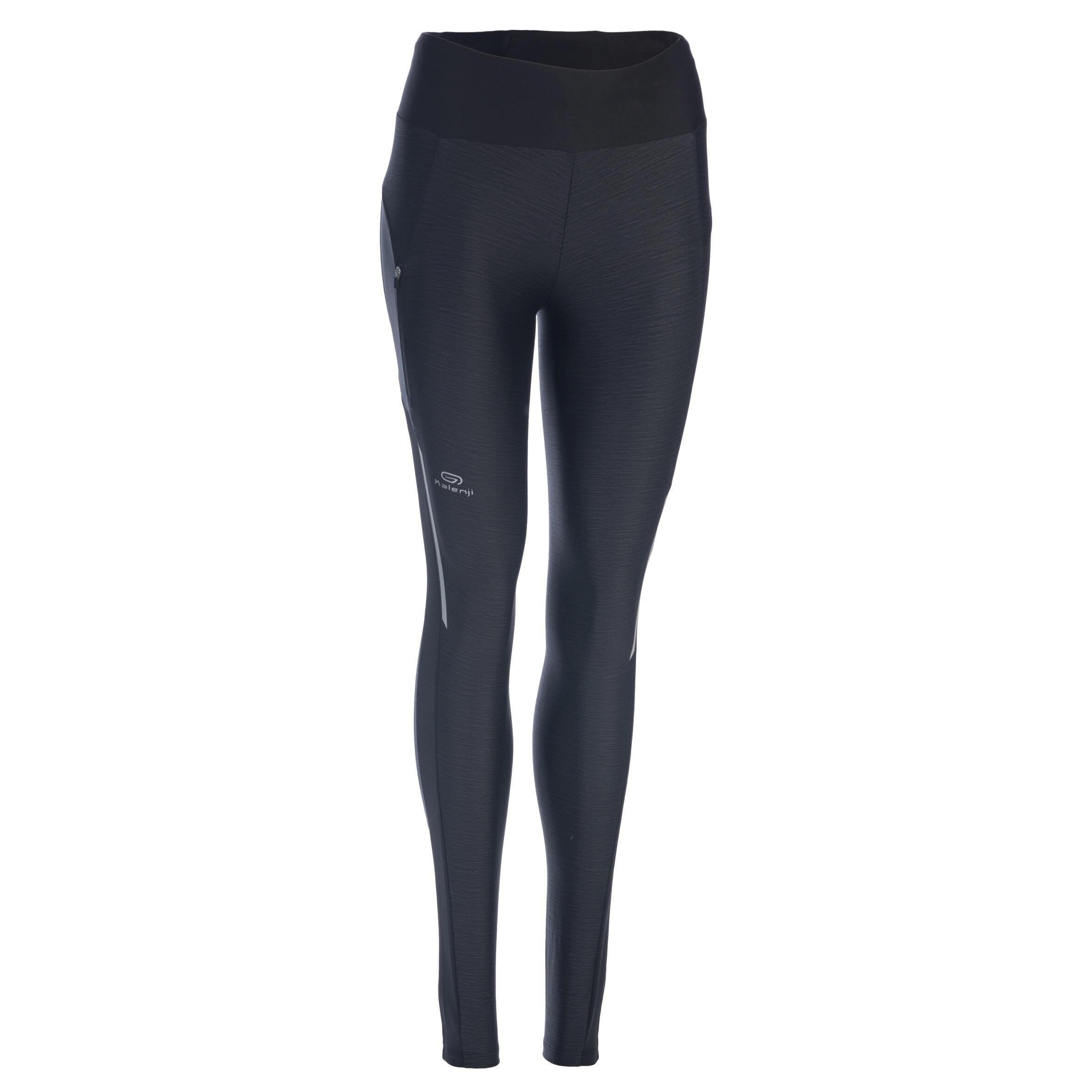 Celana Ketat Lari 7/8 Run Dry + Wanita Hitam