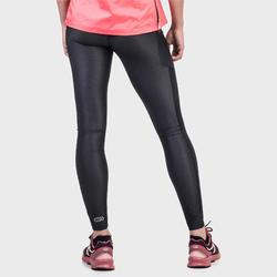 女款慢跑緊身褲Run Dry+ - 雜黑色