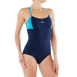 Maillot de bain d'Aquafitness une pièce Meg ultra résistant au chlore Bleu Jaune