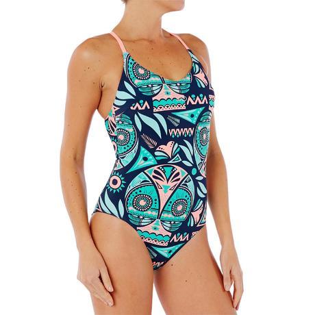 a836f300bf951 Riana Women's One-Piece Swimsuit - Owl Blue/Green | Nabaiji