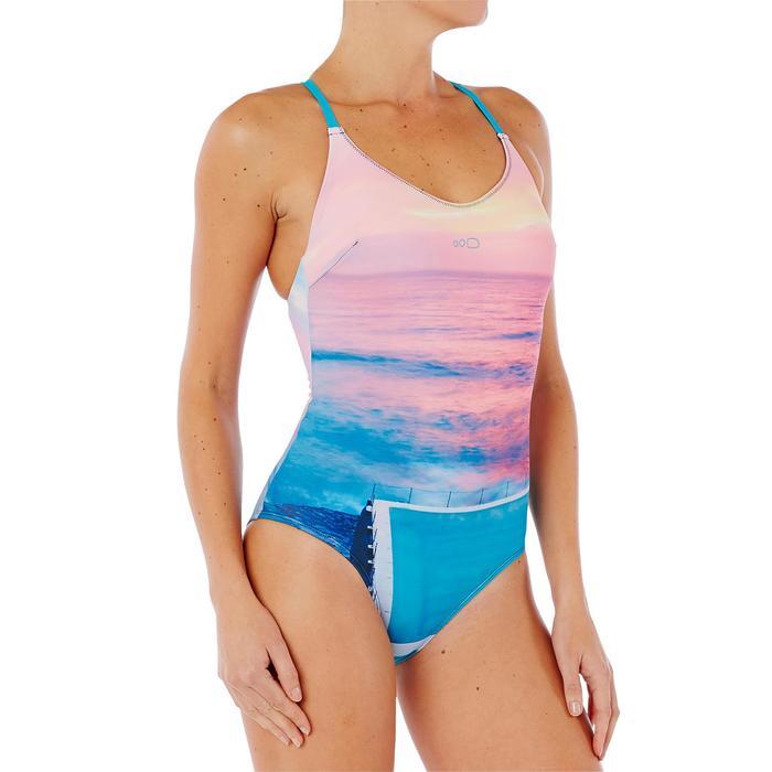 Bañador de natación una pieza para mujer Riana Pool Azul Rosa