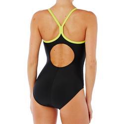 Damesbadpak Racer Back zwart/geel