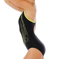 Badeanzug Racer Back Damen schwarz/gelb