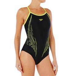 Bañador Natación Piscina Speedo Racer Endurance+ Mujer Espalda O Negro Amarillo
