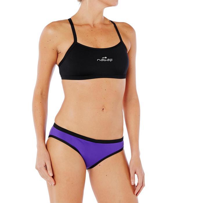 Sujetador-top de natación mujer ultra resistente al cloro Jade Negro