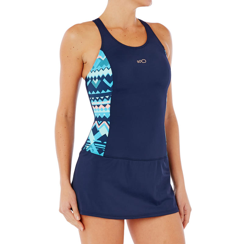 aceffe2a53 Women Swimming costume sleeveless with skirt - printed navy blue