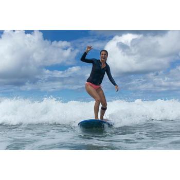 Camiseta antiUV surf Top 500 manga larga mujer azul estampado