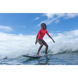 Uv-werende rashguard 100 met korte mouwen voor kinderen, voor surfen, roze