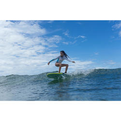 Planche de surf en mousse 6' 100. Livrée avec 1 leash et 3 ailerons.