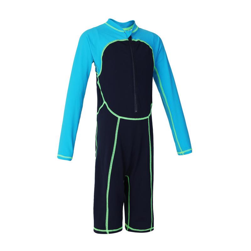 ชุดว่ายน้ำแขนยาวเด็กผู้ชายทรงขาสั้นรุ่น 100 (สีฟ้า)