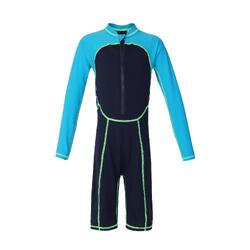 男孩款長袖連身泳裝100-藍色